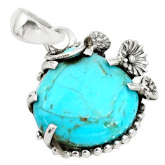 9.80cts green arizona mohave turquoise 925 sterling silver flower pendant p14429