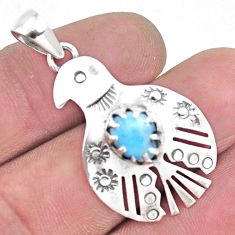 2.41cts natural blue larimar 925 sterling silver eagle pendant jewelry p14502