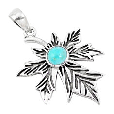 2.54cts green arizona mohave turquoise 925 silver deltoid leaf pendant p14526