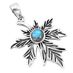 2.62cts natural blue labradorite 925 sterling silver deltoid leaf pendant p14534