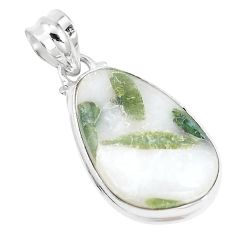 16.54cts natural green tourmaline in quartz 925 sterling silver pendant p14641