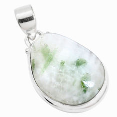 16.54cts natural green tourmaline in quartz 925 sterling silver pendant p14645