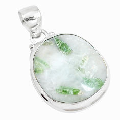 925 sterling silver 18.46cts natural green tourmaline in quartz pendant p14646