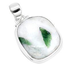 925 silver 16.54cts natural green tourmaline in quartz pendant jewelry p14652