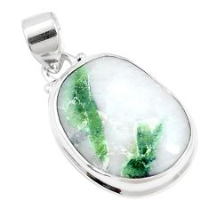 925 sterling silver 15.02cts natural green tourmaline in quartz pendant p14655