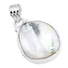 13.56cts natural green tourmaline in quartz 925 sterling silver pendant p14659