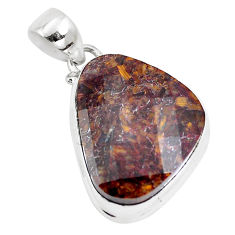 20.07cts natural brown pietersite (african) 925 sterling silver pendant p14670