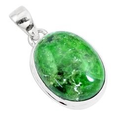 17.55cts natural green chrome diopside 925 sterling silver pendant p14682