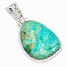 17.55cts natural green opaline 925 sterling silver pendant jewelry p14693