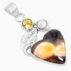 Natural brown peanut petrified wood fossil pearl 925 silver pendant p14769