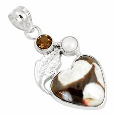 Natural brown peanut petrified wood fossil pearl 925 silver pendant p14770