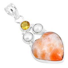 925 silver 13.15cts natural orange calcite citrine pearl heart pendant p14771