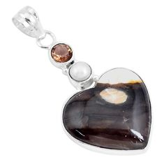 Natural brown peanut petrified wood fossil pearl 925 silver pendant p14787