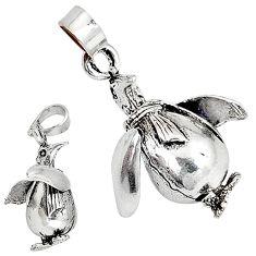 3d moving bali java island 925 sterling silver penguin pendant charm p1501
