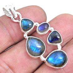 925 sterling silver 14.12cts natural blue labradorite pendant jewelry p15023