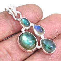 925 sterling silver 13.26cts natural blue labradorite pendant jewelry p15029