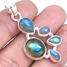 14.08cts natural blue labradorite 925 sterling silver pendant jewelry p15038