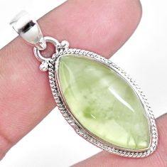 925 sterling silver 20.07cts natural green prehnite pendant jewelry p15820