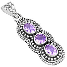 4.21cts natural purple amethyst 925 sterling silver pendant jewelry p15850
