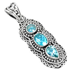 925 sterling silver 5.43cts natural blue topaz oval pendant jewelry p15854