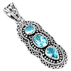 5.24cts natural blue topaz oval 925 sterling silver pendant jewelry p15856