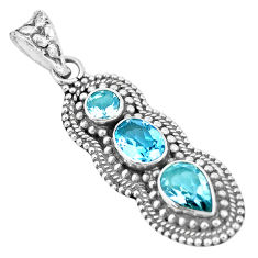 6.02cts natural blue topaz oval 925 sterling silver pendant jewelry p15859