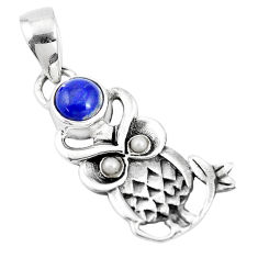 925 sterling silver 1.96cts natural blue lapis lazuli pearl owl pendant p15864
