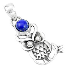 2.09cts natural blue lapis lazuli pearl 925 sterling silver owl pendant p15865