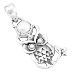 1.96cts natural white pearl round 925 sterling silver owl pendant jewelry p15871