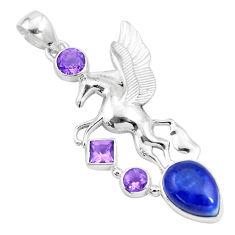 11.87cts natural blue lapis lazuli amethyst 925 silver unicorn pendant p16084