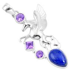 11.63cts natural blue lapis lazuli amethyst 925 silver unicorn pendant p16086
