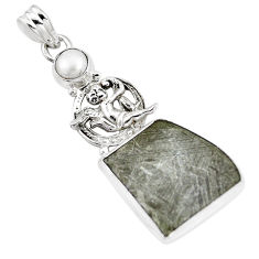 13.77cts natural grey meteorite gibeon pearl 925 sterling silver pendant p16114