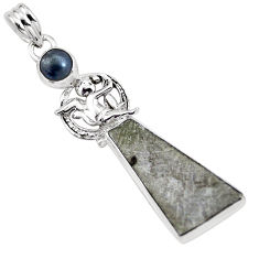 14.72cts natural grey meteorite gibeon hematite 925 silver pendant p16117