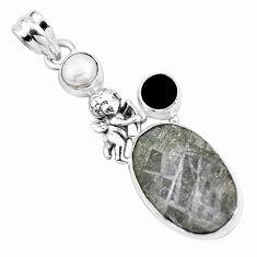 925 silver natural grey meteorite gibeon pearl cupid angel wings pendant p16120