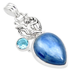 17.67cts natural blue kyanite topaz 925 silver cupid angel wings pendant p16128