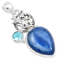 925 silver 18.63cts natural blue kyanite topaz cupid angel wings pendant p16138