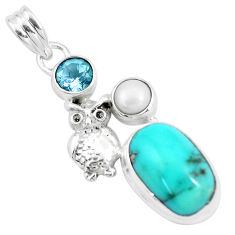 11.66cts natural green turquoise tibetan pearl 925 silver owl pendant p16141