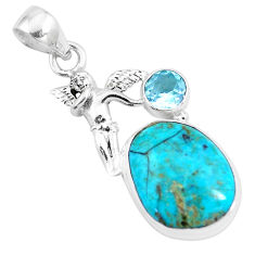 13.09cts natural green turquoise tibetan topaz 925 silver angel pendant p16145