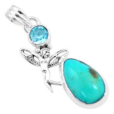 Natural green turquoise tibetan 925 silver angel wings fairy pendant p16153