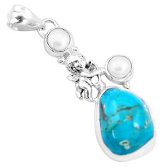 15.97cts natural green turquoise tibetan pearl 925 silver angel pendant p16157