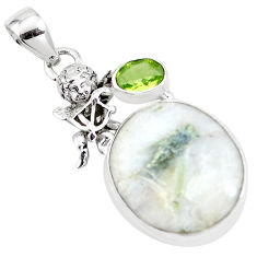 Natural green tourmaline in quartz 925 silver cupid angel wings pendant p16161