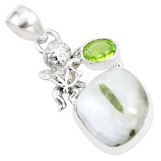925 silver natural green tourmaline in quartz cupid angel wings pendant p16164