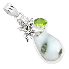 Natural green tourmaline in quartz 925 silver cupid angel wings pendant p16167