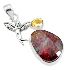 18.46cts natural brown pietersite 925 silver angel wings fairy pendant p16188