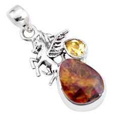 925 sterling silver 13.27cts natural brown pietersite unicorn pendant p16194