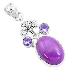 14.39cts natural purple phosphosiderite 925 silver holy cross pendant p16202