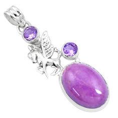 13.24cts natural purple phosphosiderite 925 silver unicorn pendant p16204