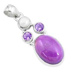 14.40cts natural purple phosphosiderite (hope stone) 925 silver pendant p16205