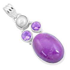 12.96cts natural purple phosphosiderite (hope stone) 925 silver pendant p16214