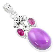 14.72cts natural purple phosphosiderite 925 silver holy cross pendant p16217